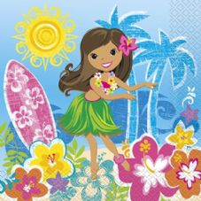 16 Luau Hula Beach Hawaiian Summer Paper Party Napkins